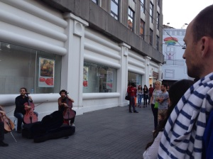 """A quick stop to listen to these street musicians playing the theme to """"Pirates of the Caribbean."""""""