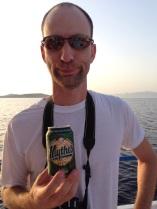 Enjoying a Greecian beer