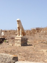 A replica of one of the lion statues that once stood in this location overlooking the lake (long gone) and the reported birthplace of Apollo and Artemis