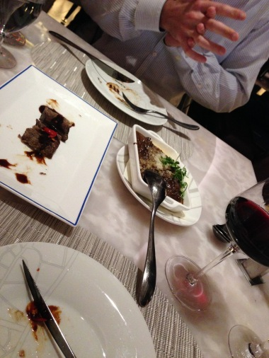 Not much left on the plates for a photo! The duck and Kobe beef were delish!