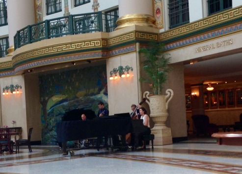 A jazz quartet filled the atrium with music in the evening.