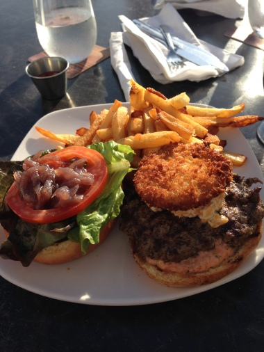 Pimento cheese burger with a fried green tomato on top!