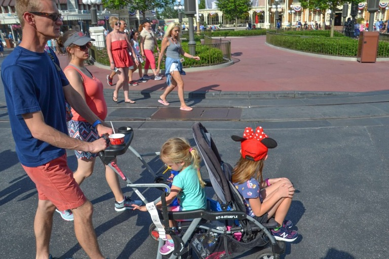 Image of kids being pushed in a stroller at Disney.